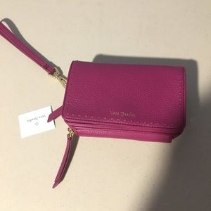 Real leather RFID Mallory wristlet wild berry